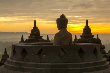 Borobudur Temple at sunrise.Indonesia.