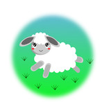 Vector illustration of cute sheep on grass