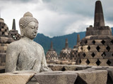 Buddha Statue and Stupas at Borobudur, Indonesia