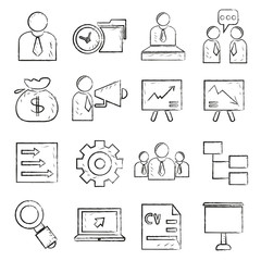 business management sketch icons
