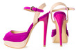 Pair of beautiful pink and beige  high hilled shoes, on white