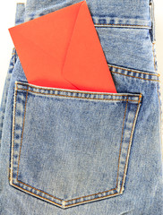 Back jeans pocket with red letter