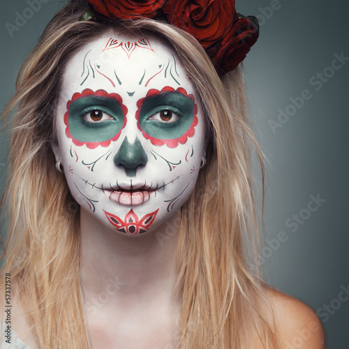 girl with a skull face makeup