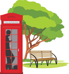 Telephone box in the park