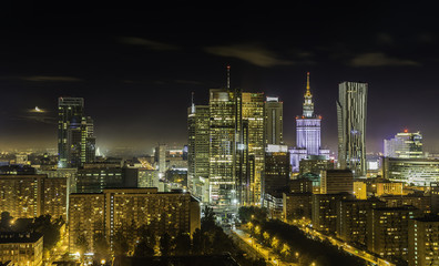 Warsaw downtown at night