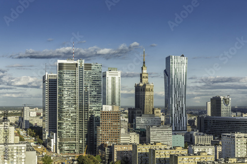 Warsaw downtown aerial view - 57337723