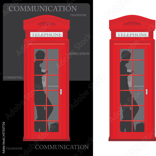 Telephone box isolated on the white and black