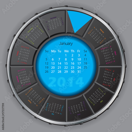 Cool digital rotateable calendar for 2014