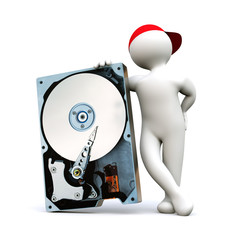 3D Man with hard disk