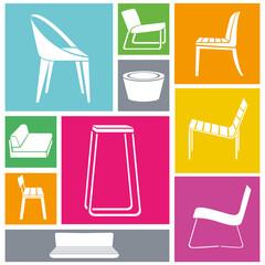 chair icon set, interior design