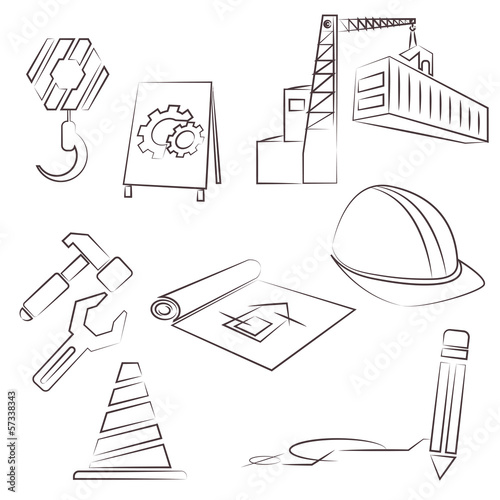 sketched construction icons