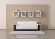 Interior of room with sofa and bookshelves 3d render