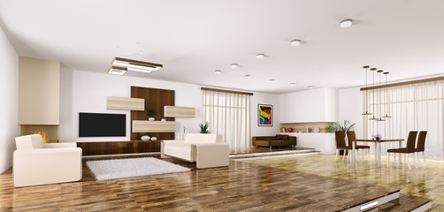 Interior of modern apartment panorama 3d render