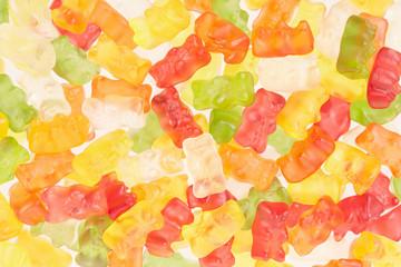 Gummy bears candies texture background