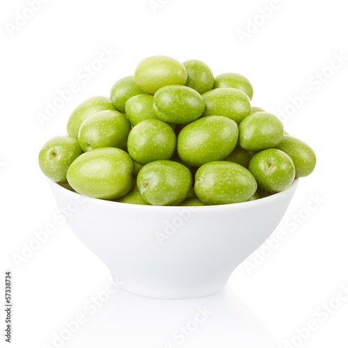 Olives in bowl on white, clipping path included
