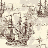 Seamless vector wallpaper with ship in vintage style