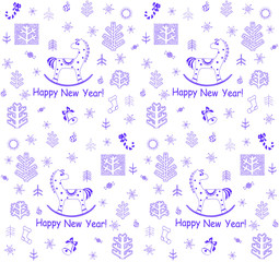 New Year greeting wallpaper with little horse