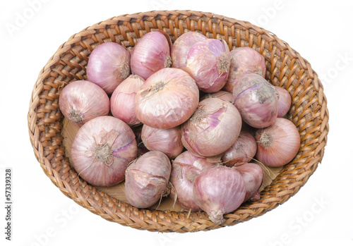 Basket with shallots