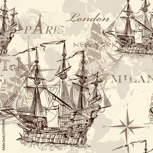 Seamless vector wallpaper with ship in vintage style © mashakotcur