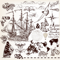 Vector set of vintage elements on marine theme with ship and swi