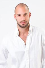 young man portrait, he wearing white shirt