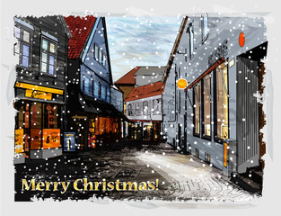 Illustration of snowy street. Christmas greeting card.