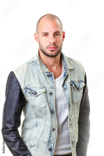 young man portrait, he wearing jeans jacket