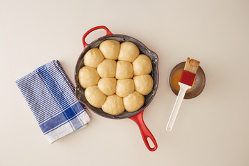 Raw brioche in a pan