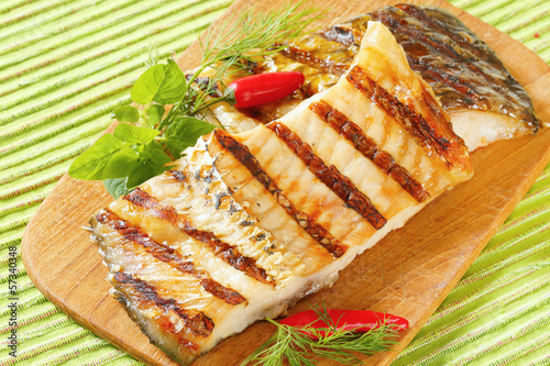 Grilled carp fillets