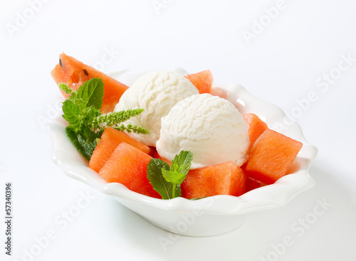 White ice cream with watermelon