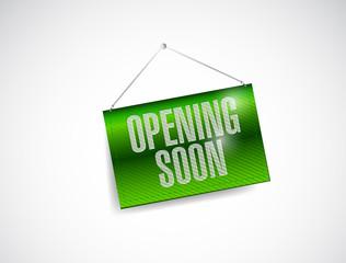 opening soon hanging banner illustration design