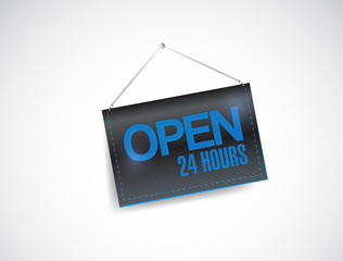 open 24 hours hanging banner illustration design