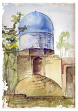 hand drawn watercolor illustration of muslim architecture