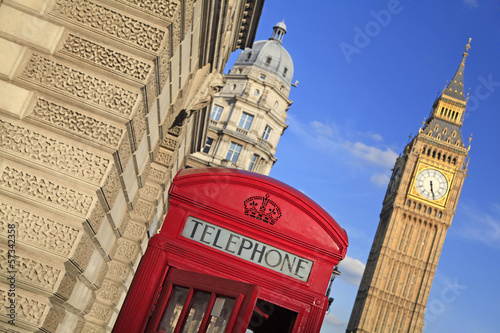 Red phone box in London UK