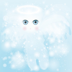 Adorable Cherub / Christmas angel in snowy heaven