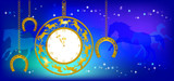 New Year background with clock and horseshoes