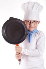 Koch mit Bratpfanne