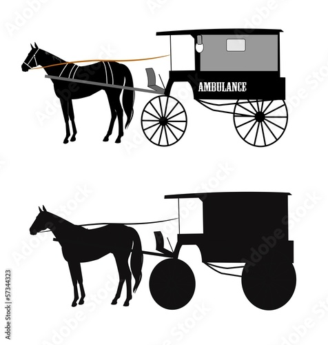 horse drawn vintage ambulance