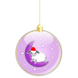 Vector glossy christmas ball with sheep on the moon