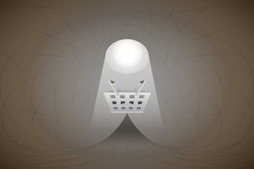 heavenly space with light beam highlights basket vector