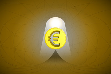 heavenly space with light beam highlights euro coin vector