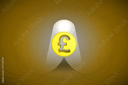 heavenly space with light beam highlights pound coin vector
