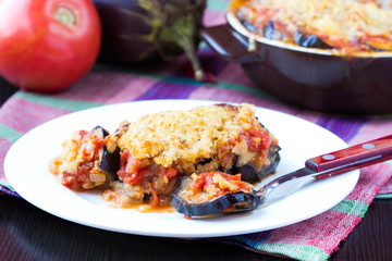 Tasty Italian dish, appetizer with eggplant, cheese and tomato