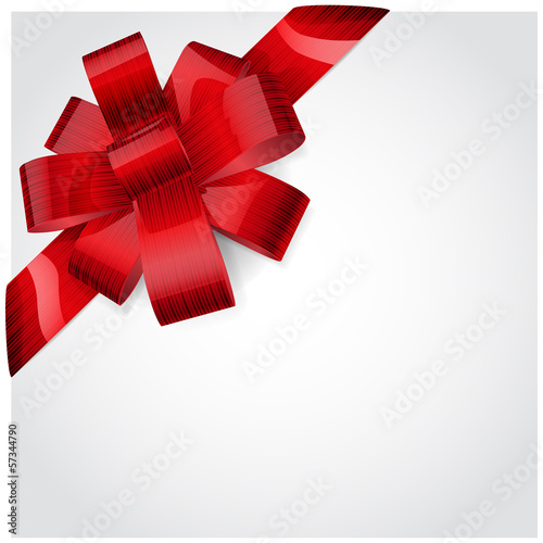 Red bow of striped ribbon