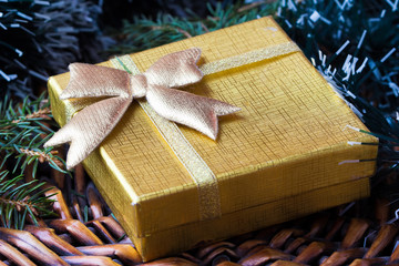 Gift in gold box under tree for Christmas