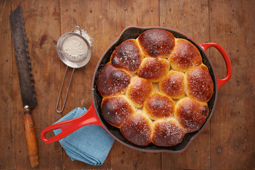 Brioche ball pie in a pan overlook shot