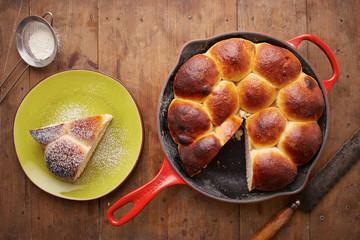 Brioche ball pie in a pan