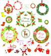 Set of christmas wreath