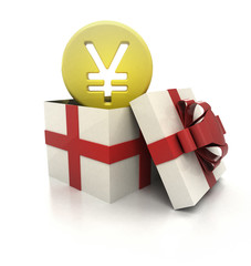 mysterious magic gift with Yuan coin inside render
