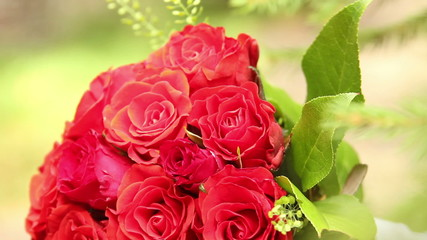 Bouquet of flowers roses for bride, marriage, pan